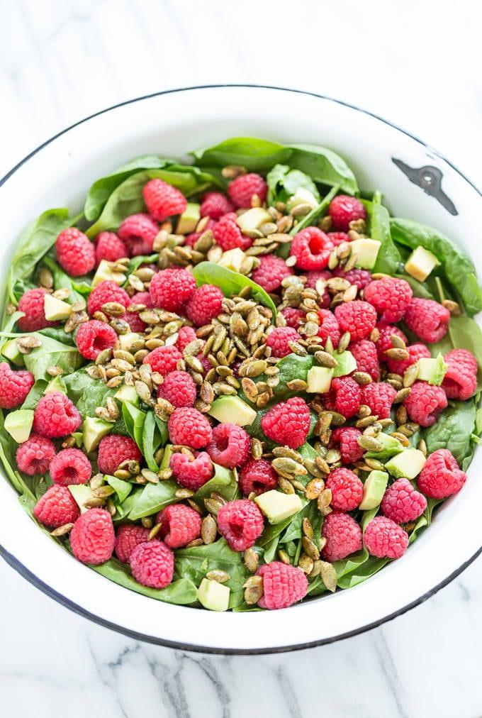 Raspberry Spinach Salad With Caramelized Garam Masala Pumpkin Seeds