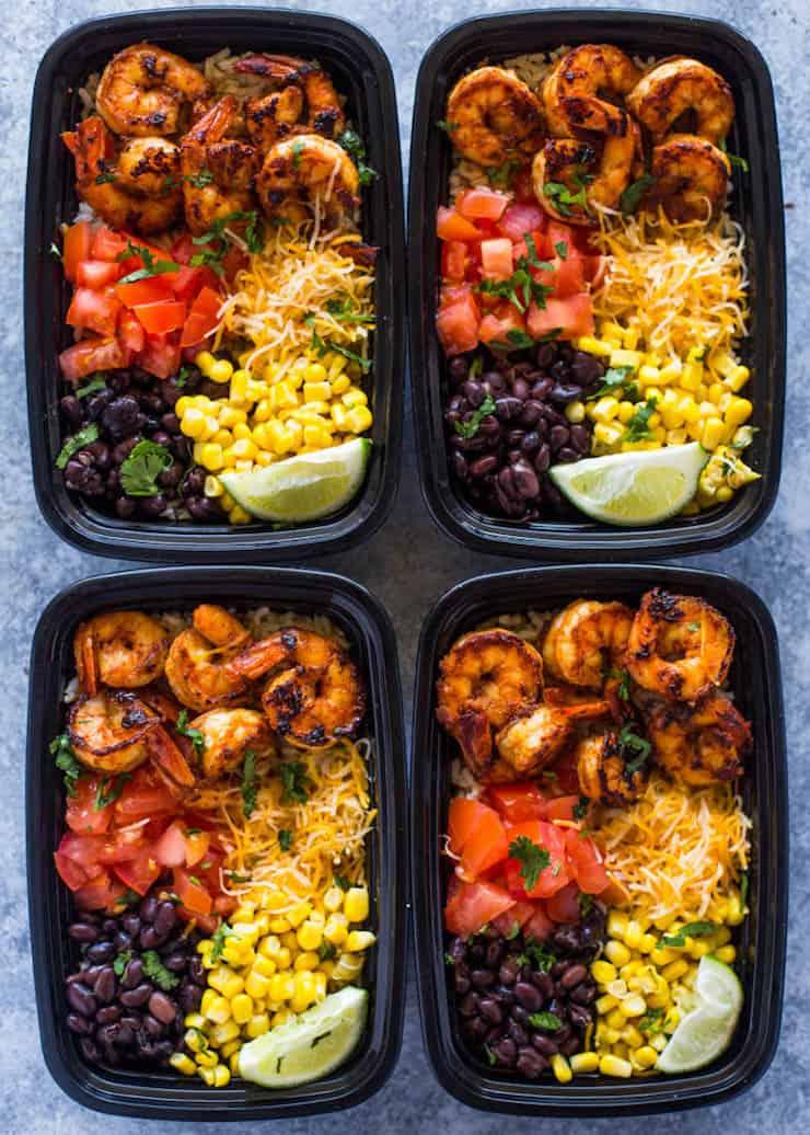 Meal Prep Shrimp Taco Bowls