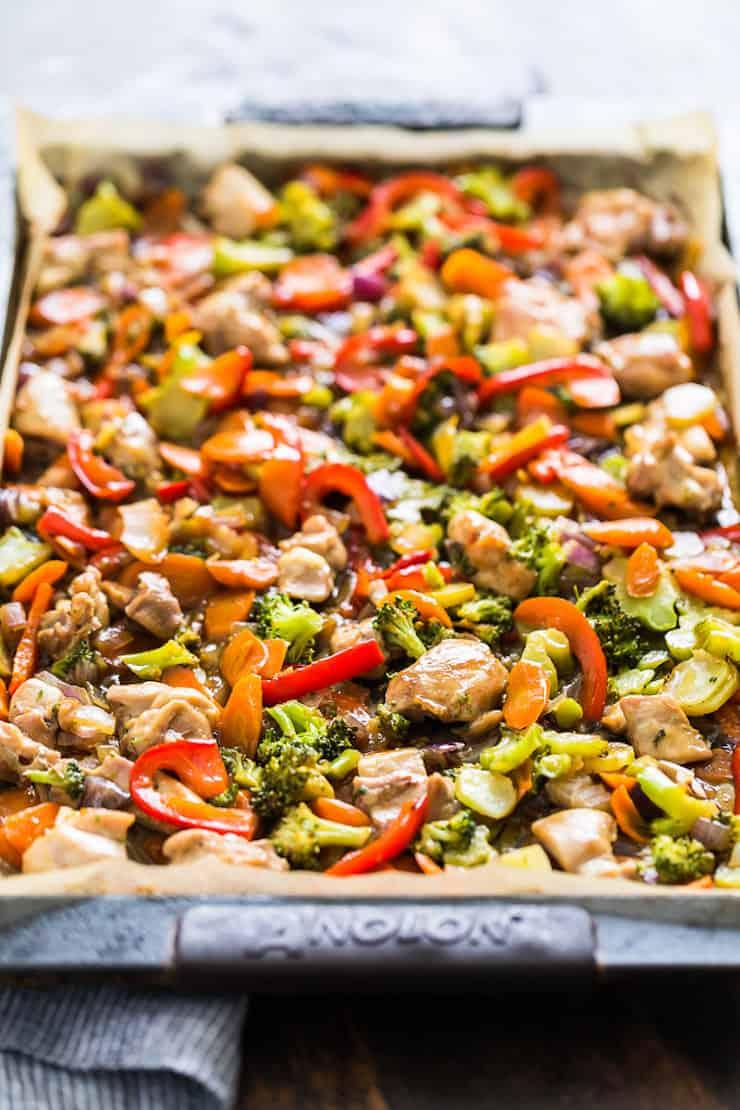 One Pan Honey Garlic Chicken and Veggie