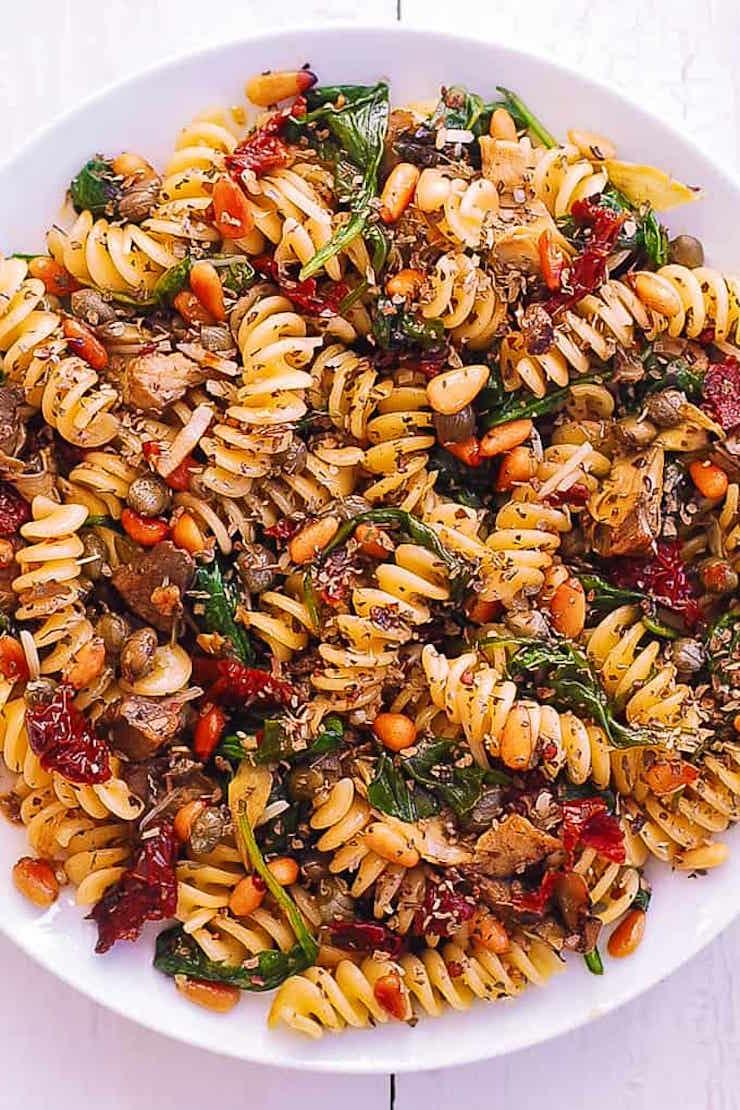 Italian Fusilli With Spinach, Artichokes, Sun-Dried Tomatoes
