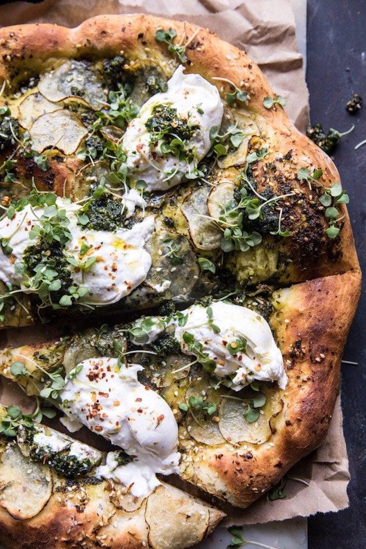 Pesto Potato And Burrata Pizza