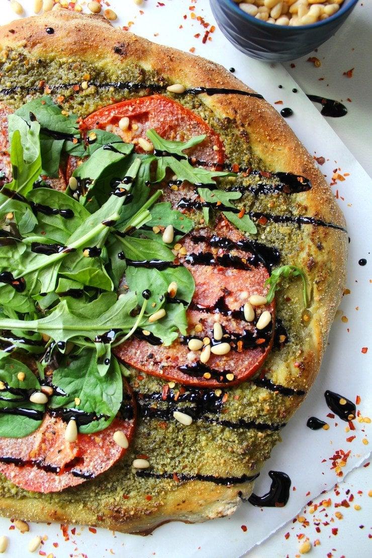 Vegan Pesto Pizza with Balsamic Glaze