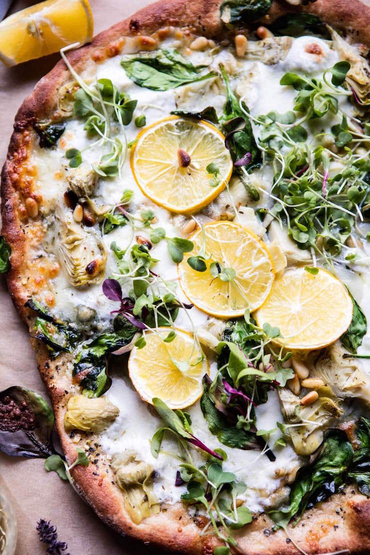Whole Wheat Spinach And Artichoke Pizza