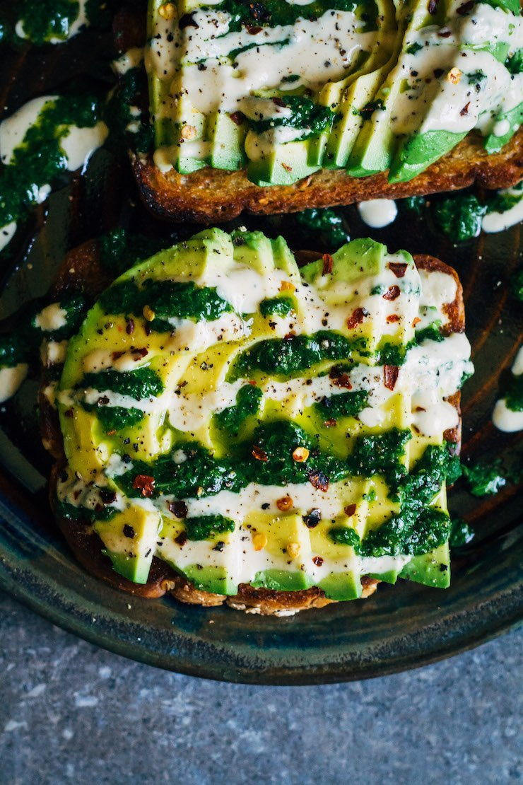 Green Pesto Avocado Toast With Tahini