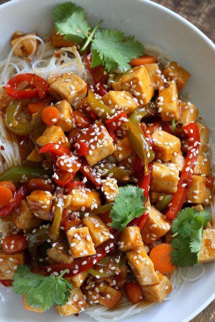 Sticky Ginger Sesame Tofu and Veggies