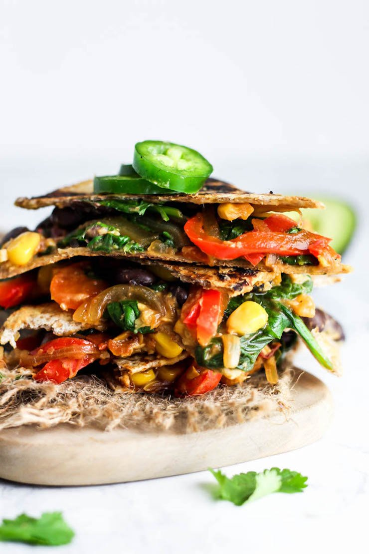 Vegan Quesadilla with Hummus & Vegetables