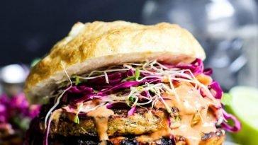 Asian Veggie Burgers with Mango Cabbage Slaw