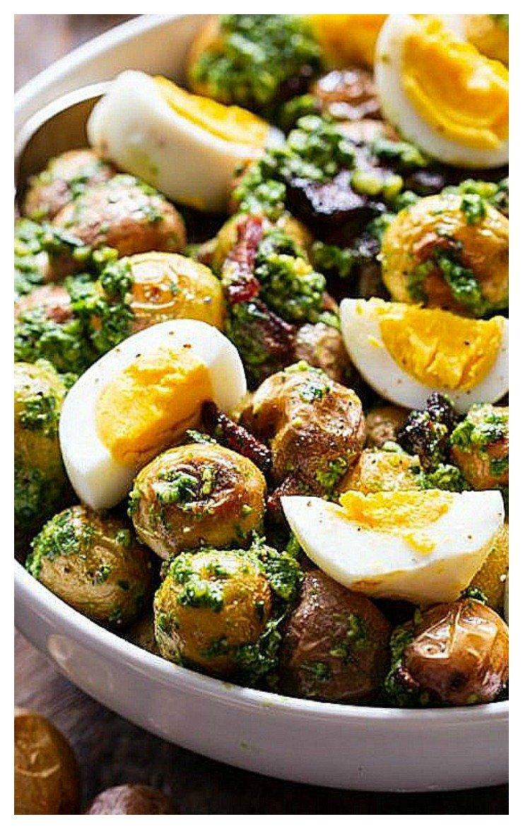 Pesto Roasted Potato Salad with Bacon Recipe
