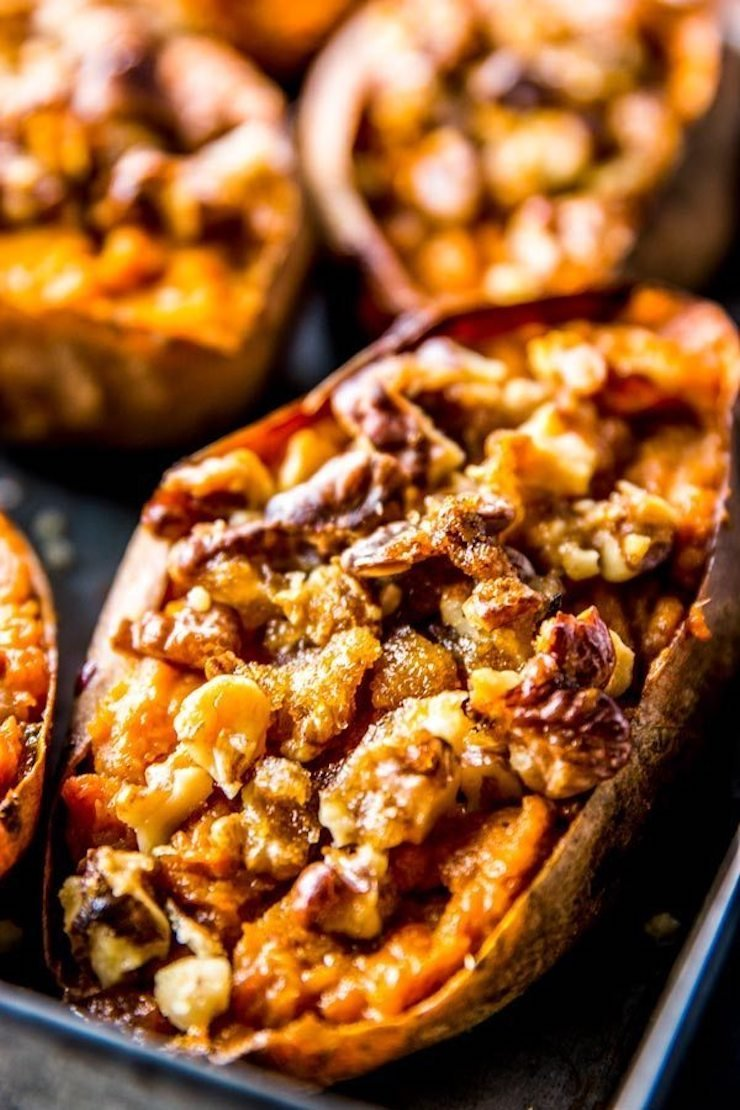 Maple Walnut Baked Sweet Potatoes