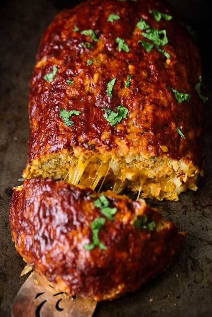 Cheddar-Stuffed Sweet Potato BBQ Turkey Meatloaf