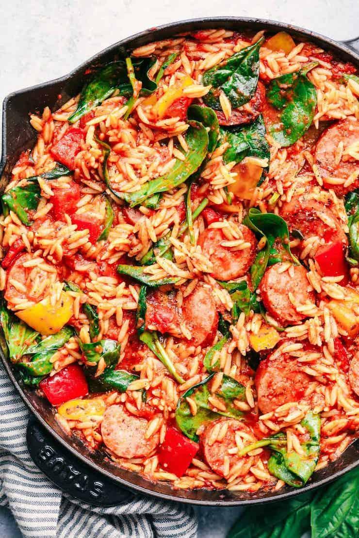 Italian Sausage and Vegetable Orzo Skillet