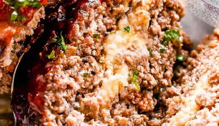 Mozzarella Stuffed Crockpot Meatloaf