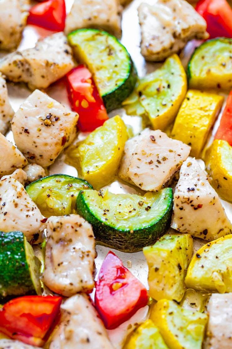Sheet Pan Summer Vegetables and Chicken