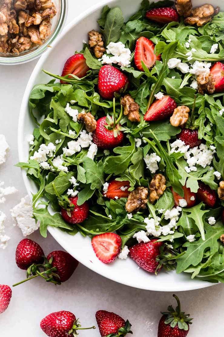 Strawberry Salad with Arugula, Salted Caramel Walnuts